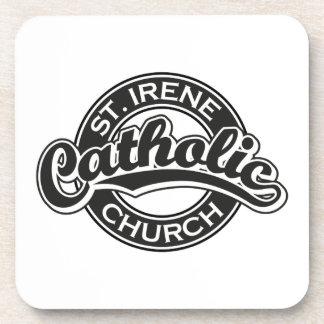 St Irene Catholic Church Black and White Beverage Coasters