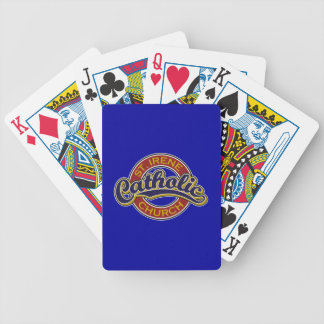 St Irene Catholic Church Blue on Red Deck Of Cards