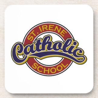 St Irene Catholic School Blue on Red Coasters