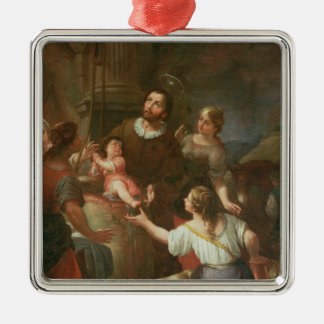 St. Isidore and the Miracle at the Well Silver-Colored Square Decoration