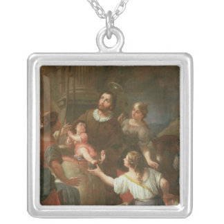 St. Isidore and the Miracle at the Well Silver Plated Necklace