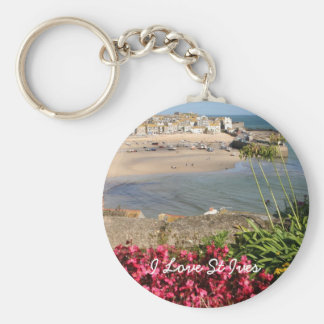 St Ives Harbour Pink Flowers Basic Round Button Key Ring