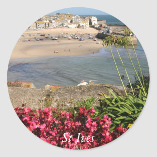 St Ives Harbour Pink Flowers Classic Round Sticker