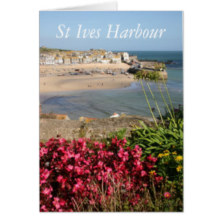 St Ives Harbour Pink Flowers Greeting Card