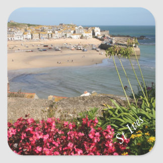 St Ives Harbour Pink Flowers Sticker