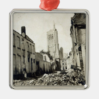 St. Jacob's Church, Ypres, June 1915 Silver-Colored Square Decoration