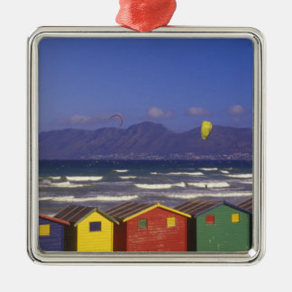 St. James Bay Bathing Boxes, near Capetown, 2 Silver-Colored Square Decoration