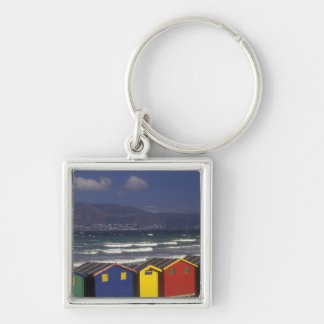 St. James Bay Bathing Boxes, near Capetown, Silver-Colored Square Key Ring