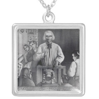 St. Jean-Marie Vianney  preaching, 19th century Silver Plated Necklace