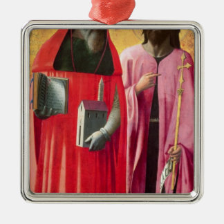 St. Jerome and St. John the Baptist, c.1428-29 Silver-Colored Square Decoration