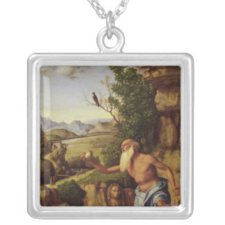 St.Jerome in a Landscape, c.1500-10 Silver Plated Necklace