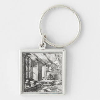 St. Jerome in his Study, 1514 Silver-Colored Square Key Ring