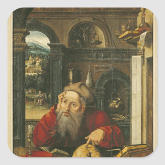 St. Jerome in his Study Square Sticker