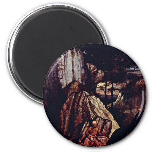 St. Jerome In The Desert By Lotto Lorenzo (Best Qu Fridge Magnets