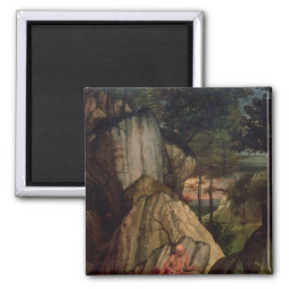 St. Jerome Meditating in the Desert, 1506 Square Magnet