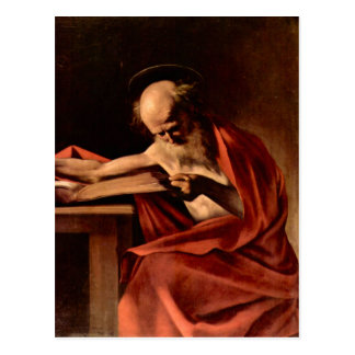 St. Jerome while writing by Caravaggio Post Card