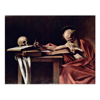 St. Jerome Writing By Michelangelo Merisi Da Carav Postcard