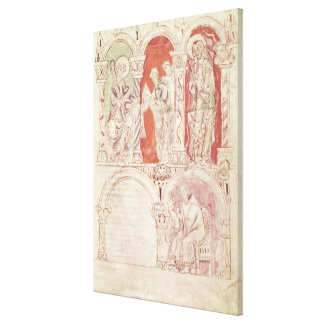 St. John Cassian writing and monks offering Canvas Print