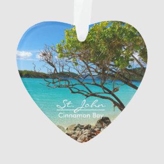 St John Cinnamon Bay Beach Heart Ornament
