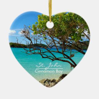 St John Cinnamon Bay Ceramic Heart Ornament