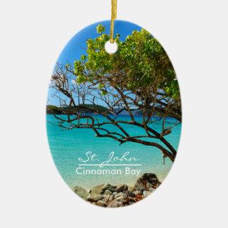 St John Cinnamon Bay Oval Ceramic Ornament