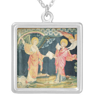 St. John Eating the Book Square Pendant Necklace