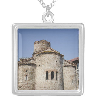 St. John the Baptist cruciform church 2 Silver Plated Necklace