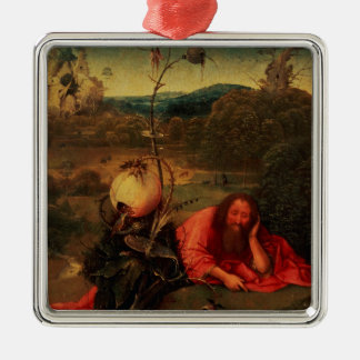 St. John the Baptist in Meditation Silver-Colored Square Decoration
