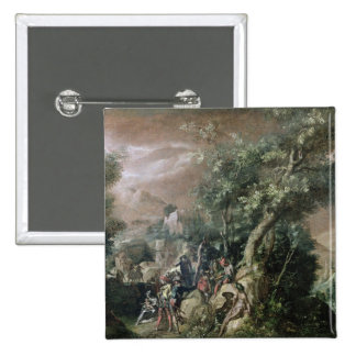 St. John the Baptist Preaching (oil on canvas) 15 Cm Square Badge
