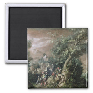 St. John the Baptist Preaching (oil on canvas) Square Magnet