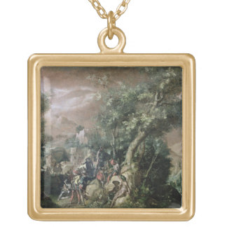 St. John the Baptist Preaching (oil on canvas) Square Pendant Necklace