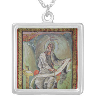 St. John the Evangelist, from the Ebbo Gospels Silver Plated Necklace