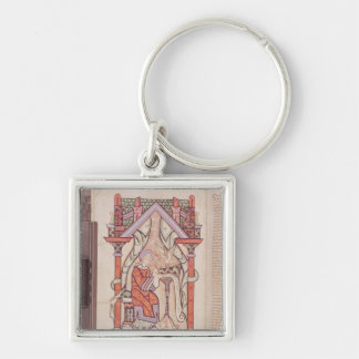 St. John the Evangelist from the Gospels Silver-Colored Square Key Ring