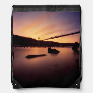 St Johns Bridge Sunset Drawstring Bag