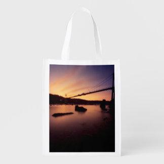St Johns Bridge Sunset Reusable Grocery Bag