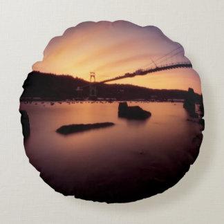 St Johns Bridge Sunset Round Cushion