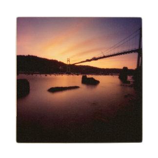 St Johns Bridge Sunset Wood Coaster