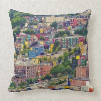 St John's Newfoundland Canada Colorful Painting Cushion