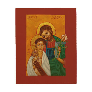 St. Joseph as Worker & Father Wood Print Icon