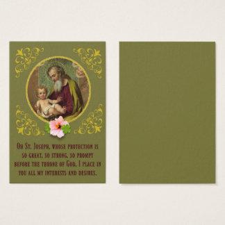 St. Joseph Baby Jesus Shamrock Flower Prayer Business Card
