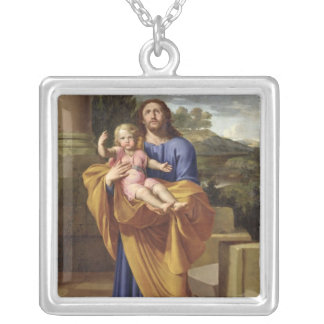 St. Joseph Carrying the Infant Jesus, 1665 Silver Plated Necklace