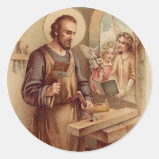 St. Joseph, Child Jesus, Angels Tools Bench Round Sticker
