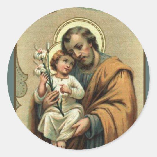 St. Joseph, Child Jesus, Lily Vintage Classic Round