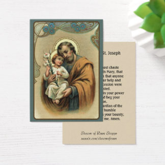 St. Joseph holding the baby Jesus  Lily Memorare Business Card