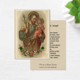 St. Joseph Jesus Memorare Prayer Business Card