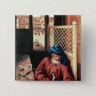 St. Joseph Portrayed as a Medieval Carpenter 15 Cm Square Badge