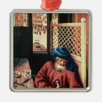 St. Joseph Portrayed as a Medieval Carpenter Silver-Colored Square Decoration