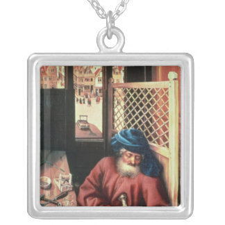 St. Joseph Portrayed as a Medieval Carpenter Silver Plated Necklace
