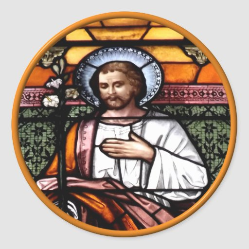 St. Joseph pray for us - stained glass window Round Sticker
