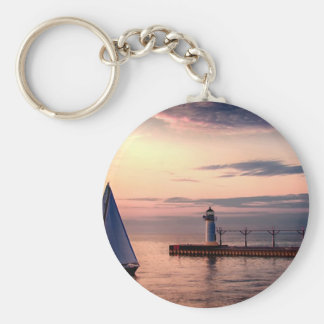 St. Joseph Sailboat Basic Round Button Key Ring